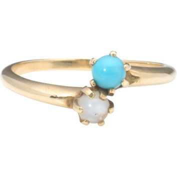 Antique 14k Gold Moonstone & Turquoise Glass Bypass Ring
