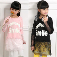 New Girls Children Spring Clothing Gilrl Letter Printed Lace Floral T-shirt 3 Colors Kids Spring Cotton Lace Flower T-shirt 5 pcs/lot