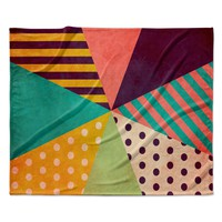 "Louise Machado ""Umbrella"" Purple Orange Fleece Throw Blanket"