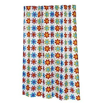 Flower Power Extra Long Fabric Shower Curtain Size: 70 inch  x 84 inch