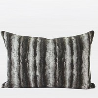 "Charcoal Mix Color Stripe Pattern  Metallic Chenille Pillow  14""X20"""