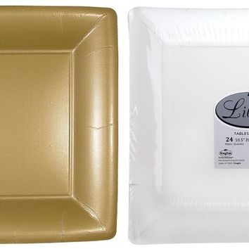 """solid gold 10"""" square dinner paper plates Case of 24"""