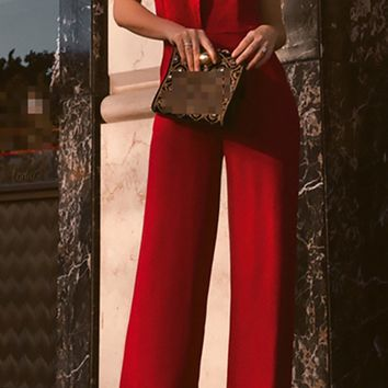 Sangria Wine Red Sleeveless On Shoulder Square Neckline Wide Leg Loose Jumpsuit
