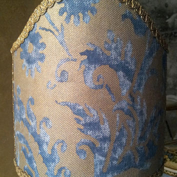 Clip-On Shield Shade Fortuny Fabric Blue & Gold Demedici Pattern Half Lampshade - Handmade in Italy