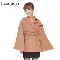 Haoduoyi british style cashmere wool cloak loose lacing outerwear wool coat hm2 6 full