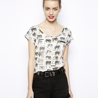 New Look Geo-Tribal Elephant Zip Tee