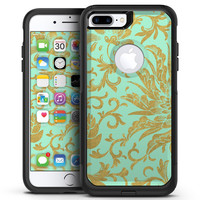 Mint and Gold Floral v6 - iPhone 7 or 7 Plus Commuter Case Skin Kit