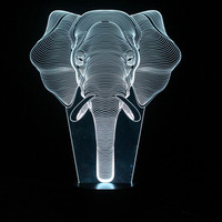 Interesting 3D Illusion Lamp LED Night Lights with Elephant Pattern Table Lamp for  Friends Gifts FS-3222