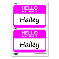 Hailey Hello My Name Is - Sheet of 2 Stickers