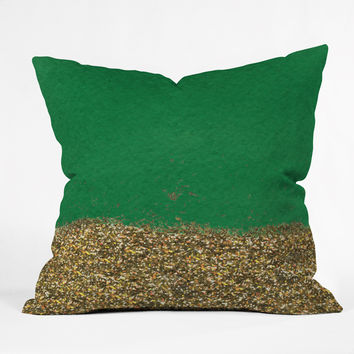 Social Proper Dipped In Gold Emerald Outdoor Throw Pillow
