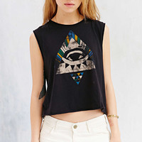 Black Eye Print Cropped Muscle Tee