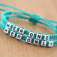 Couples Bracelets Set, Hers and Hers Bracelets, Her Only Her One Bracelets, Gay Lesbian Bracelets, Anniversary Gift, Personalized Birthday Friendship Gifts (Size: Youth S(6-8), Color: Multicolor) = 1929668484