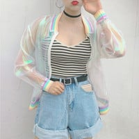 Harajuku Summer Women Jacket Laser Rainbow Symphony Hologram Women BasicCoat Clear Iridescent Transparent Bomber Jacket Sunproof