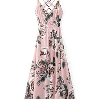 Pink Wrap Floral Print Cross Strappy Back Maxi Dress