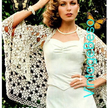 SHAWL CROCHET PATTERN Digital Download Pdf Ladies Flower Six Petaled Motif Feminine Delicate Lace Sexy Shawl Boho Hippie Festival Chic Vixen