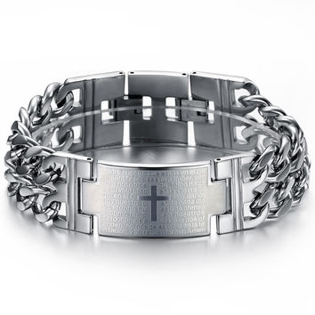 Classic man Spanish Bible Lord prayer cross Titanium steel hand chain