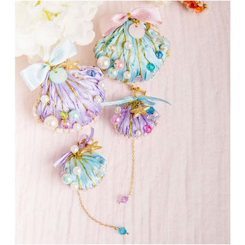 Blue/Purple Lolita Seashell Hairpin/Ear-clip/Brooch/Ring SP152647