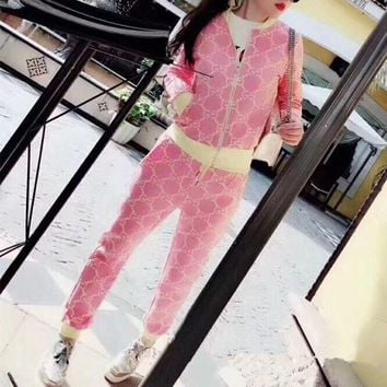 """Gucci"" Women Casual Fashion Multicolor GG Letter Long Sleeve Zip Cardigan Coat Trousers Set Two-Piece Sportswear"
