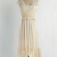 Ryu Boho Mid-length Cap Sleeves A-line Fairytale Protagonist Dress