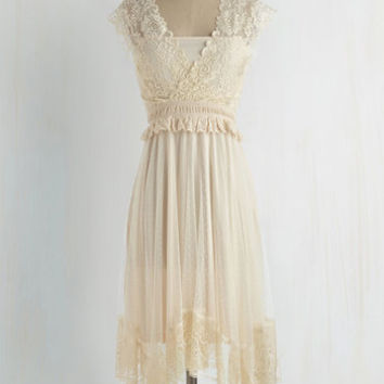 Boho Mid-length Cap Sleeves A-line Fairytale Protagonist Dress