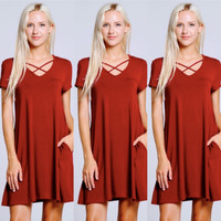 Cutout Front Swing Dress in Red