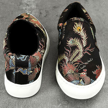 Ninette Black Embroidered Slip-On Sneakers