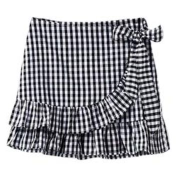 'Darla' Wrap Frill Gingham Skirt