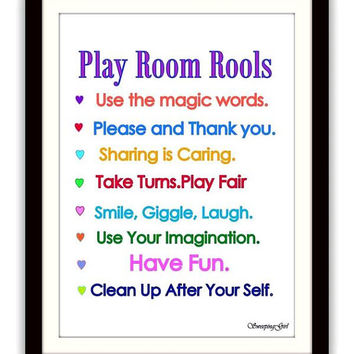 Playroom rules, Printable Wall Art, decor, decal decals, print, boy room poster, nursery decoration,rainbow colors, decoration, baby boys