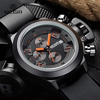 Megir Fashion Mens Silicone Band Sport Quartz Wrist Watches Analog Display Chronograph Black Watch for Man with Calendar 2002