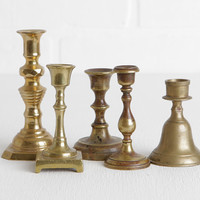 """Vintage Small Brass Candle Sticks, Set of Five Mismatched Mini Candlesticks for Instant Collection, Shabby Style 3"""" to 4"""" Candle Sticks"""
