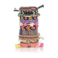 Multicoloured woven fabric bracelet pack - bracelets - jewellery - women