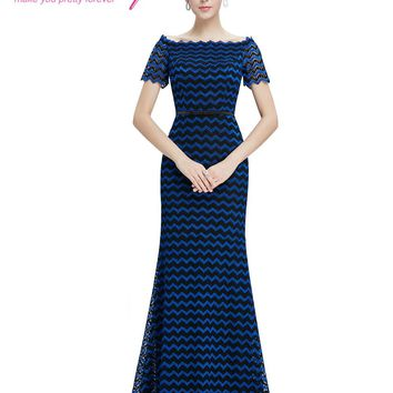 Women's Elegant Short Sleeve Ever-Pretty EP08799BB Unique boat v-neck design Mother of the Bride Party Gowns 2018 Occasion Dress