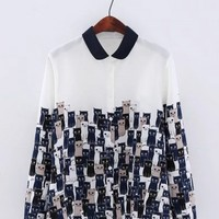 Turn Down Collar Cats Printed Chiffon Shirts - NOVASHE.com