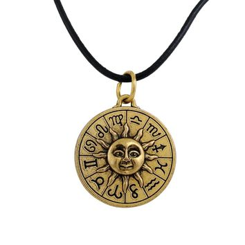 5 PCS Gold Slavic Taislman Kolovrat Sun Wheel Amulet Symbol Pagan Wax Cord Rope Chain Hand Stamped Necklaces Jewelry Making