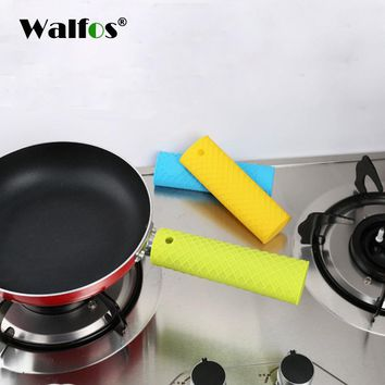 WALFOS heat resistant thick silicone pot holder Kitchen Tool Silicone  Non-slip Pan handle Mitts Cover Insulation