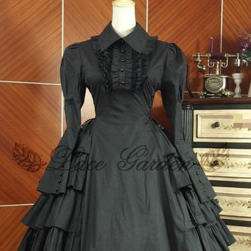 J617 BLACK LOLITA DRESS COSPLAY COTTON LONG SLEEVES GOTHIC GOTH HALLOWEEN