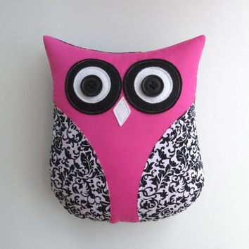 black and white owl damask owl pillow plush by whimsysweetwhimsy