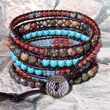 Leather Wrap Bracelet Leather Jewelry Beaded Wrap Bracelet with Jasper and Turquoise Five Wrap Brown Leather Boho Wrap Bracelet