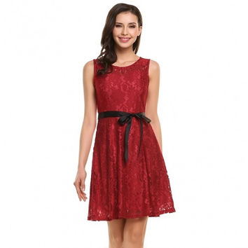 Women Sleeveless Fit And Flare Cocktail Party Floral Lace Dress With Belt