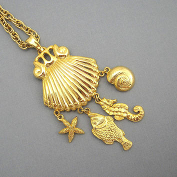 Long Shell Beach Necklace Shell Pendant Charms