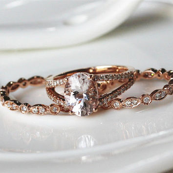 Three Rings!!!7x9mm Oval Cut VS Morganite Ring 14K Rose Gold Pave Diamond Ring/ Engagement Ring/  Wedding Ring/ Anniversary Ring