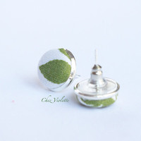 Stud earrings, green white leaf fabric post, Tiny earrings stud - small earring studs kawaii