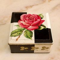 Vintage ROSE metal tin England box floral shabby chic metal chocolate box