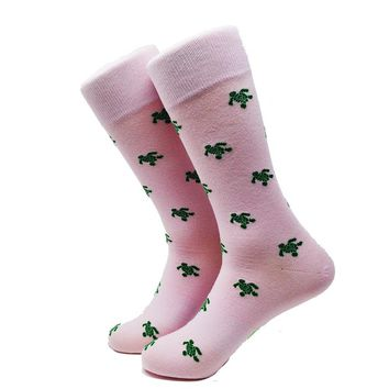 Turtle Socks - Men's Mid Calf - Green on Pink