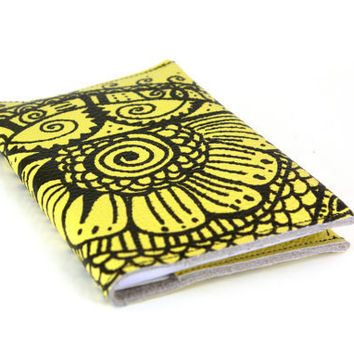 Henna on (light) Chartreuse - Leather Notebook (refillable)