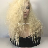 Cool Long Blonde Waves Human Hair Blend Multi Parting Lace front wig 16""