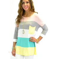 SZ MEDIUM Castle Harbor Pink Colorblock Pocket Tunic