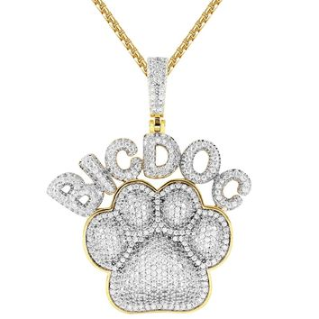 Men's Big Dog Paw Animal Pet Print Silver Iced Out Pendant