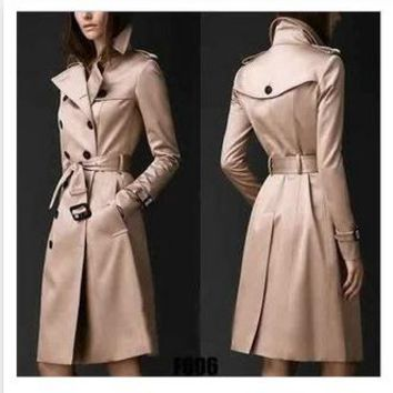 Fashion Women Trench Coat Autumn 2017 Polyester British Tide Double Breasted Slim Long Coats Trench Femme Hot Sale