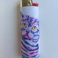 Colorful cat custom BIC lighter